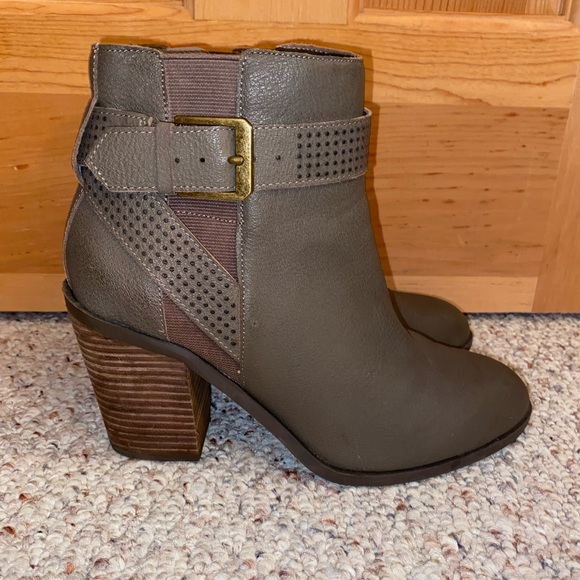 Gray Crown Vintage Faux Leather Booties